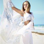 Brittney Rose Yoga in White on Beach