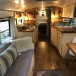 Bus living and kitchen